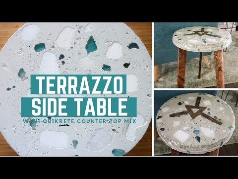 How to make a DIY Terrazzo Side Table using Quikrete Concrete Countertop Mix