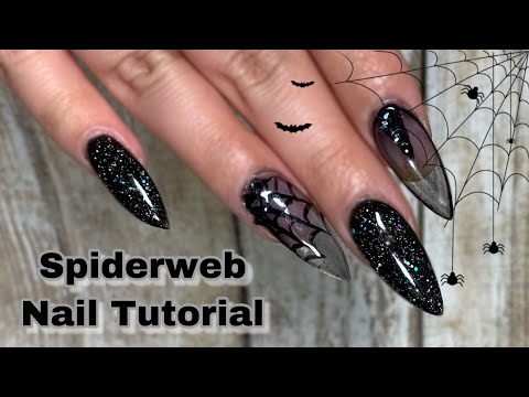 Sheer Spiderweb Halloween Nail Tutorial thumbnail