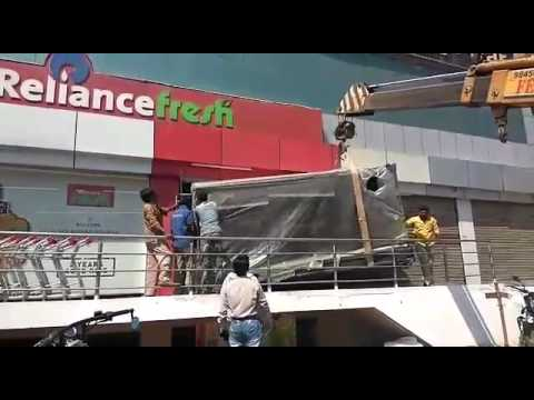 Freezer of reliance fresh is being placed by FED-EL Cranes in Marthahalli Bangalore K.R puram
