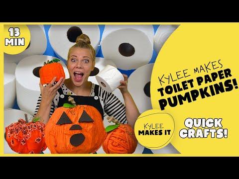 Kylee Makes Toilet Paper Pumpkins   Easy Halloween Toilet Paper Roll Crafts for Kids
