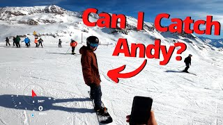 5500ft Snowboarding Descent in Alpe d'Huez  Chasing Andy in 4k