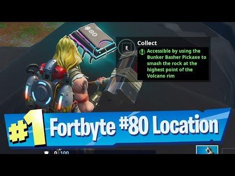 Fortnite Fortbyte #80 Location - Using Bunker Basher PIckaxe To Smash Rock At Highest Volcano