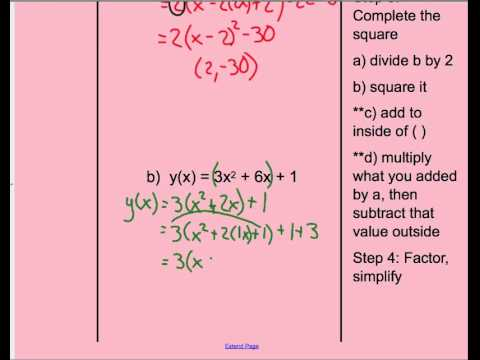 Convert Quadratic From Standard To Vertex Form Lead Coefficient Not