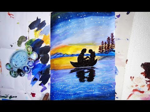 Beautiful Scenery Paint| Acrylic paint | Demonstration| Step by Step| Easy paint|