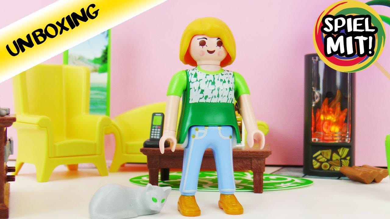 playmobil dollhouse wohnzimmer mit kamin, sofa, sessel und