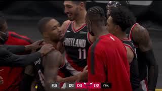 Damian Lillard Calls Game For The Blazers   Highlights vs. Bulls