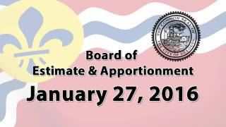 Board of Estimate & Apportionment    January 27, 2016