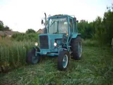 Трактор МТЗ 80 косит - YouTube