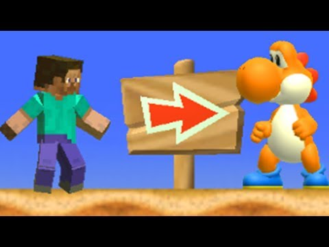 Steve and Yoshi in New Super Mario Bros Wii (2 Players)