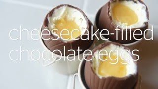 Cheesecake-filled chocolate eggs