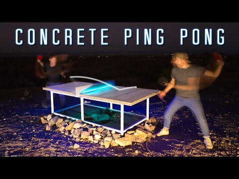 DIY Concrete Ping-Pong Table with LED Net