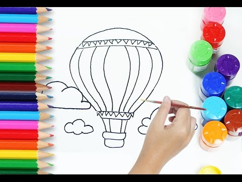 drawing tutorial for kids how to draw and paint hot air balloon coloring pages for children - Paint Drawing For Kids