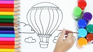 drawing tutorial for kids how to draw and paint Hot air balloon coloring pages for children