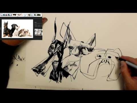 pen and ink dog group caricature drawing