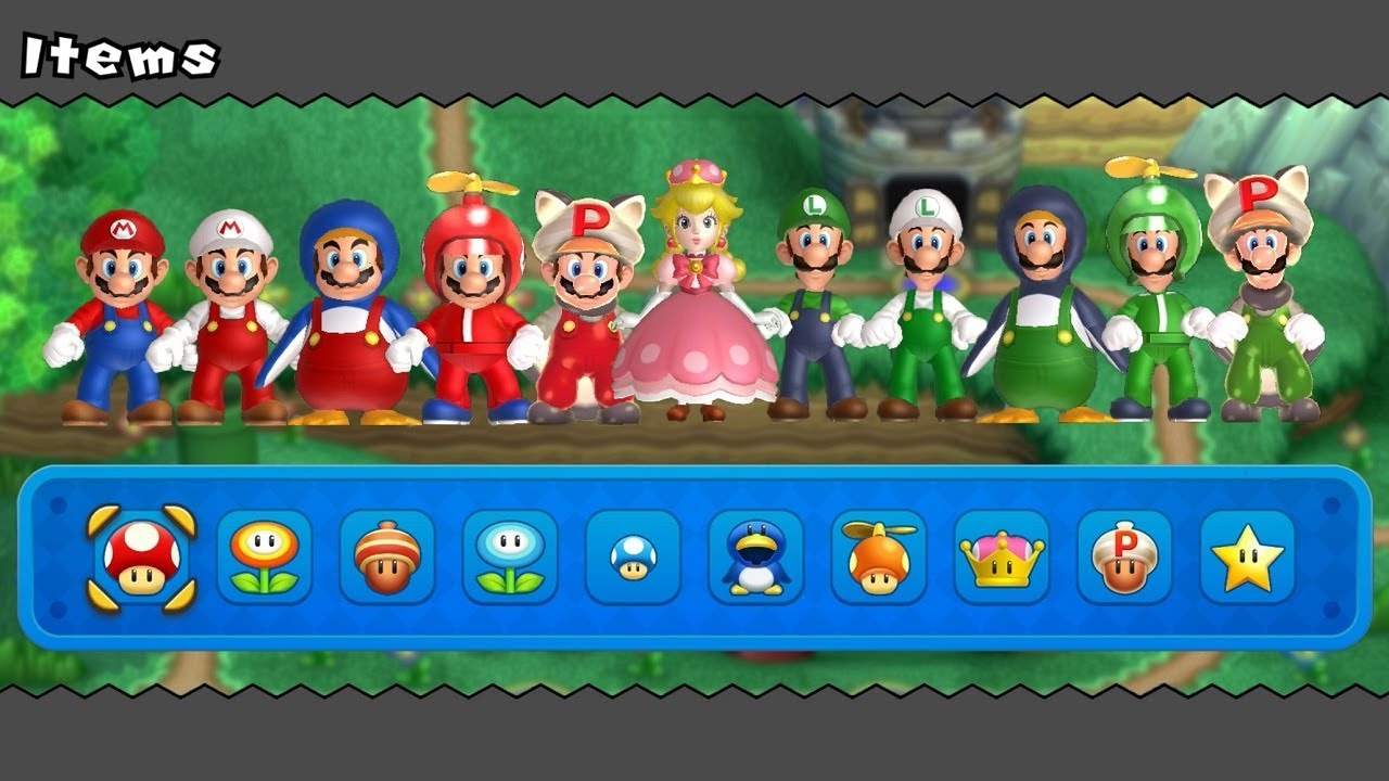 New Super Mario Bros U Deluxe - All Power-Ups (2 Players)