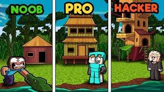 Minecraft - JUNGLE BIOME HOUSE! (NOOB vs PRO vs HACKER)