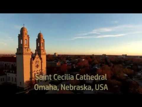 St. Cecilia Cathedral, Omaha Aerial Photography - DJI Phantom III drone, 4K