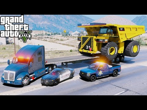 GTA 5 REAL LIFE MOD - ANOTHER DAY AT WORK #41 Oversized Load Trailer Hauling A Giant Dump Truck
