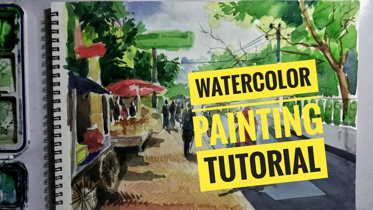 #artstudio2 #watercolour #tutorial Watercolor painting tutorial (street scene)