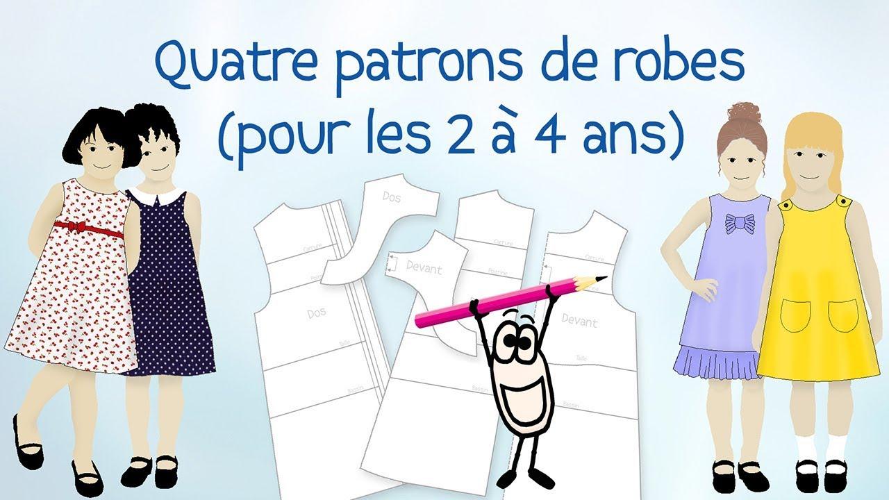 5c5a4103c8d5b Tuto patron couture enfant gratuit - 4 en 1 Patron robe Fillette 2 - 4 ans