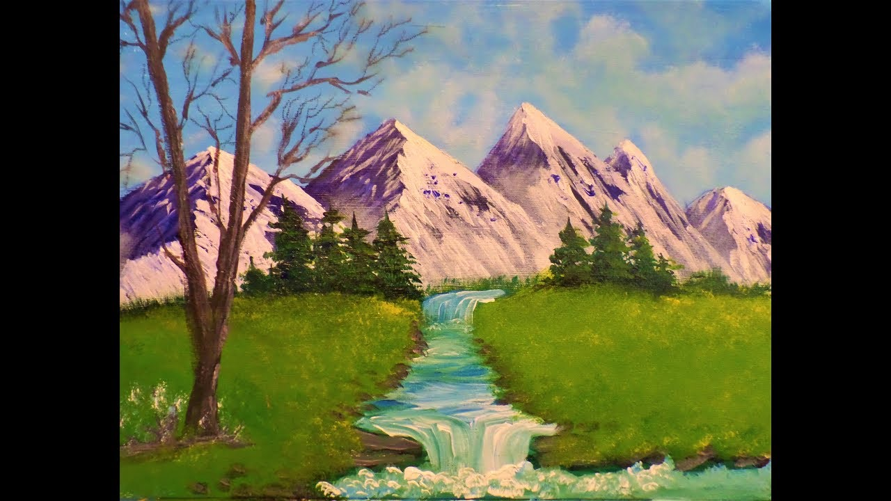 Step by Step Simple Snowy Mountain Landscape Acrylic Painting for Beginners