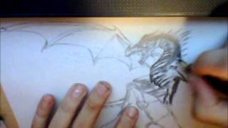 Dark Fantasy Speed Drawing Chaos Dragon Zeichnung  epi 1