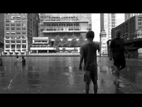 Water Pad playing on Chicago River B&W