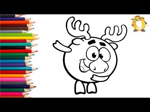 Раскраска для детей ГЕРОИ МУЛЬТИКА СМЕШАРИКИ. Учим цвета.