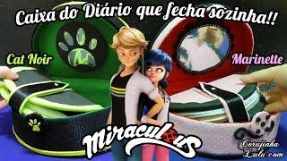 DIY Miraculous Ladybug: Como fazer Caixa do Diário da Marinette e Cat Noir (Fecha sozinha!)