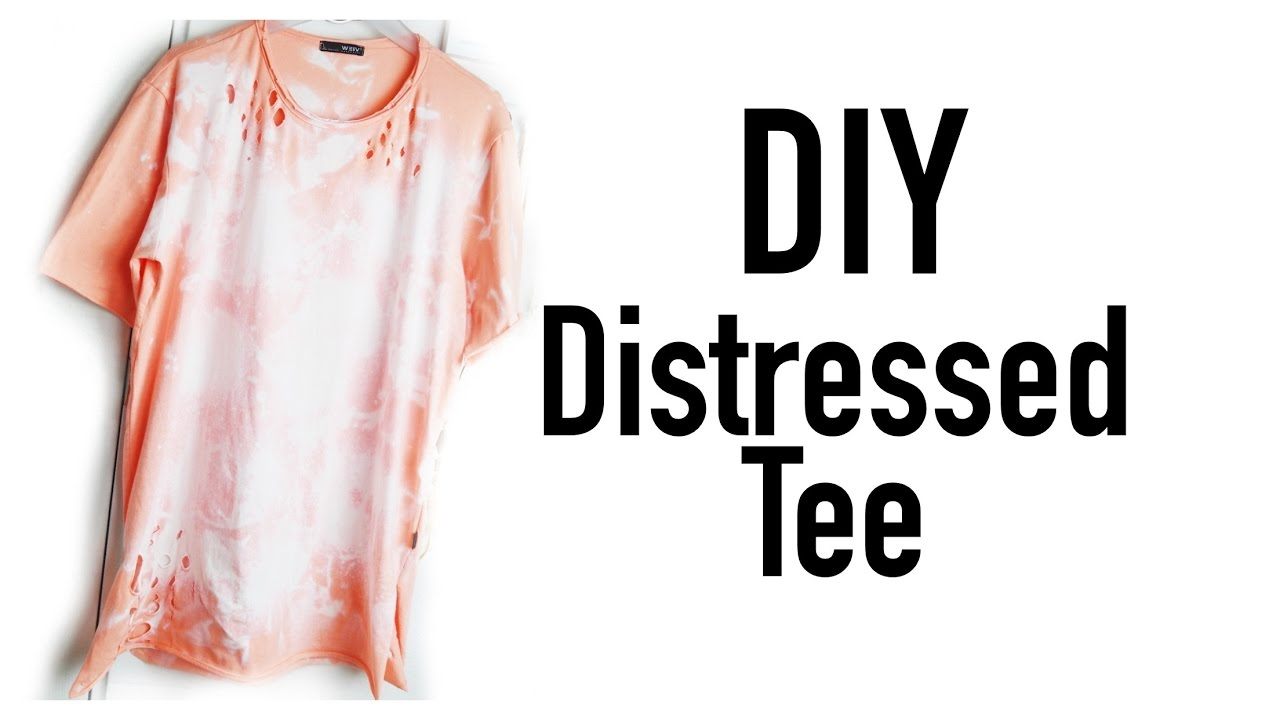 Easy diy acid washed distressed t shirt youtube for How to make a distressed shirt