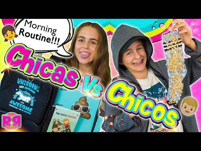 RUTINA de MAÑANA para ir al COLEGIO 👫Chicos Vs Chicas ¿Qué hay en mi MOCHILA? HAUL material escolar