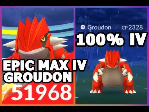 100% IV GROUDON 2328 CP CAUGHT IN POKEMON GO | 3 LEGENDARY GROUDON RAIDS