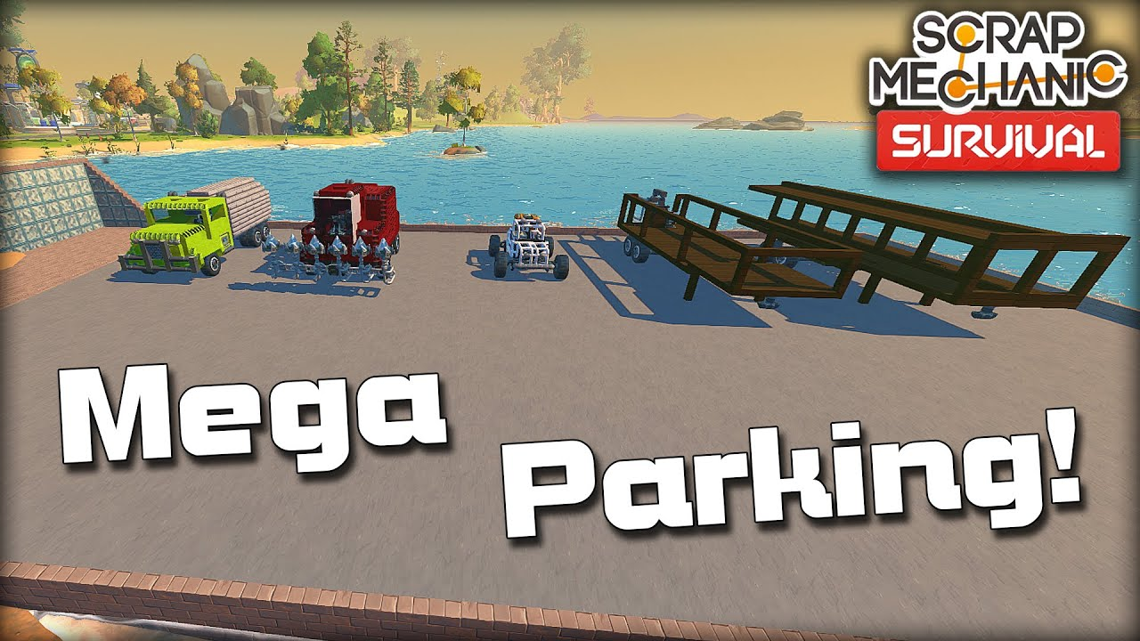 Finishing the Mega Parking Lot and Working on the Base Wall! (Scrap Mechanic Survival Ep.35)