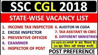 SSC CGL 2018 POST PREFERENCE | TOTAL VACANCIES STATE WISE