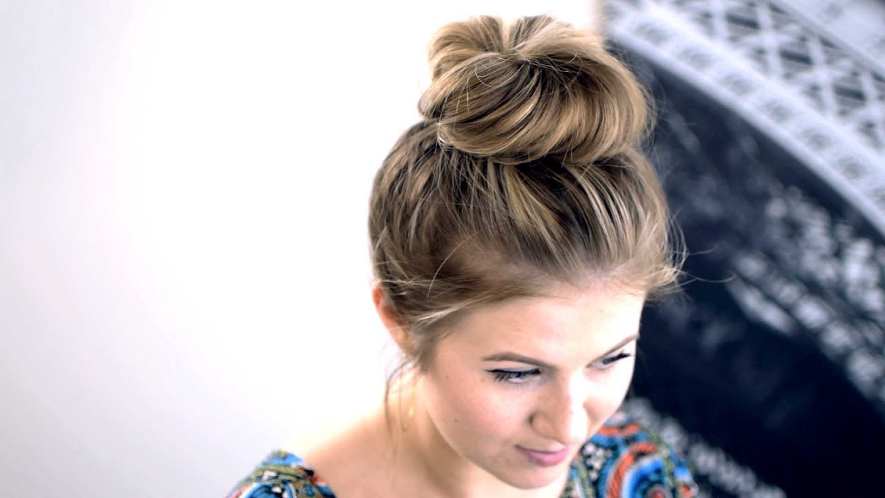 Messy Top Knot for Short/Medium Hair Tutorial | Milabu - YouTube