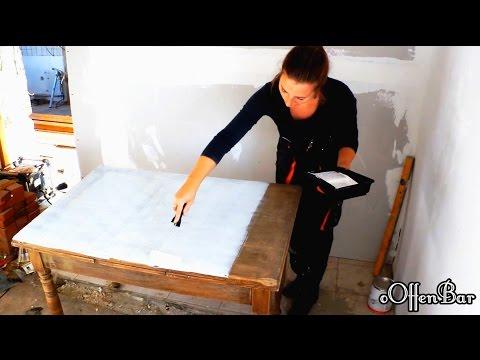 DIY-Alten Esstisch neu aufbereiten zum Schreibtisch/shabby chic ...Bar