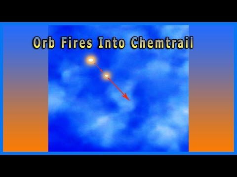 Orb (UFO) Fires A Weapon Into A Chemtrail