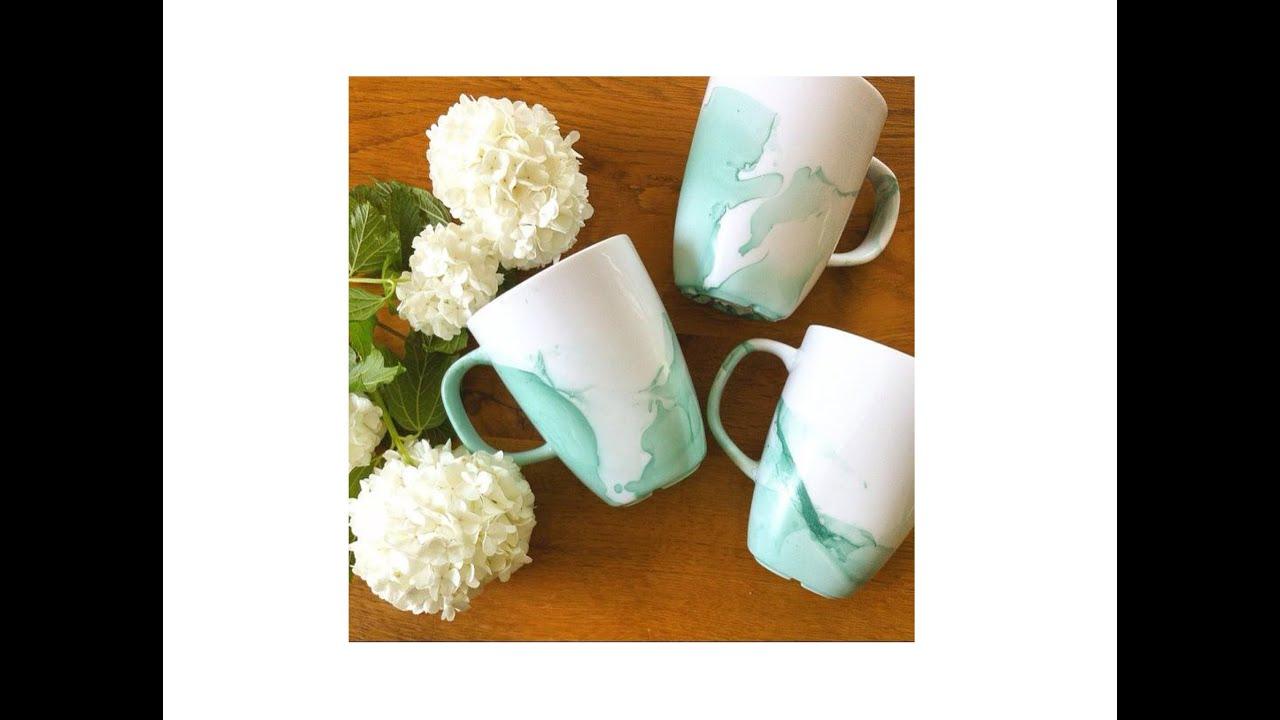 DIY: Watercolour Mug - Nagellack Tasse - schnell und einfach - YouTube