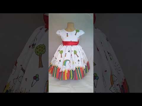 20ed682e26 Vestido de Festa Infantil Aquarela - YouTube