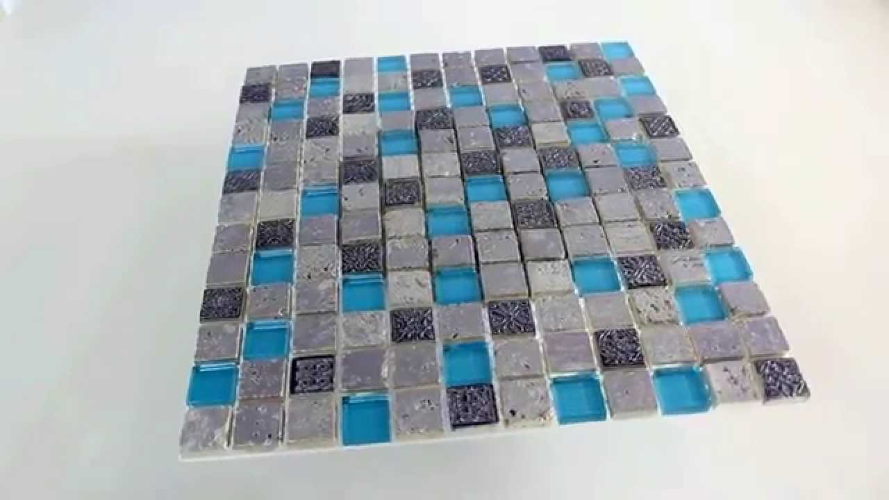 mosaik fliesen glas resin stein mix blau silber youtube. Black Bedroom Furniture Sets. Home Design Ideas