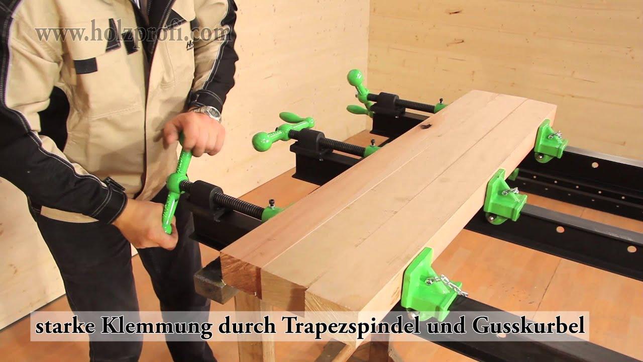 Tischplatte selber verleimen  Holz verleimen und spannen mit dem Holzprofi Türspanner - YouTube