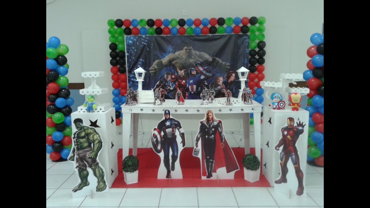 Decoraç u00e3o de festa Tema Os Vingadores YouTube -> Decoração De Festa Os Vingadores