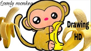How to draw a little lovely monkey | Drawing HD| lovely monkey | របៀបគូររូប