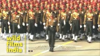 Impressive eyes-right by Indian Army march-past contingent at R - Day Parade!