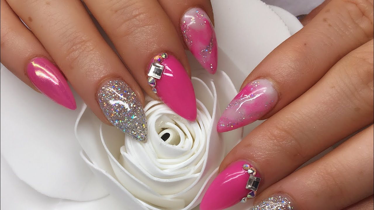 Acrylic Nails | Pink Nails | Marble - YouTube