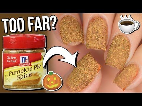 100% REAL Pumpkin Spice Latte FALL Nail Art... Too far? Naahhhh