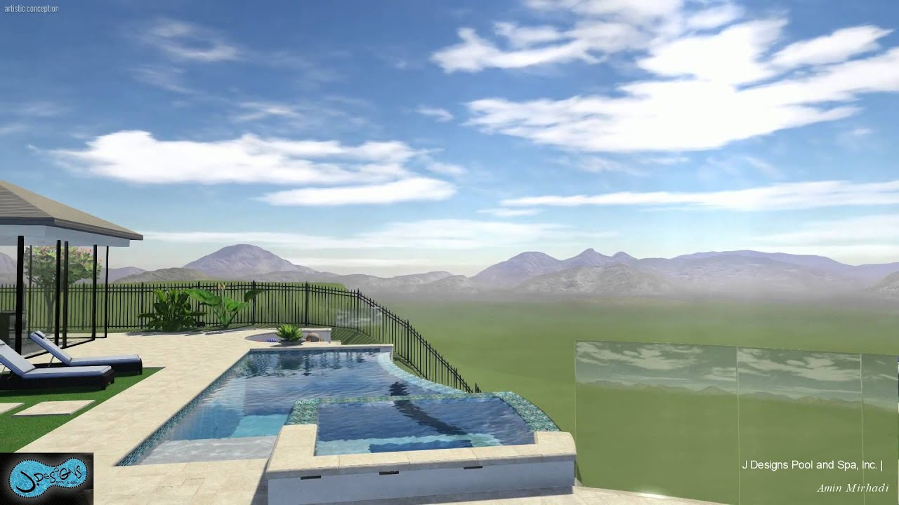 Copy of infinity pool and spa with deck on hillside youtube for Pool design hillside
