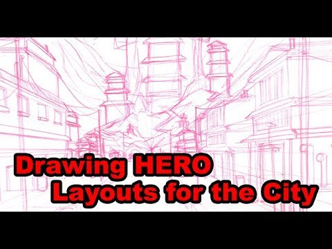 Drawing HERO Background Layouts... The City Interior