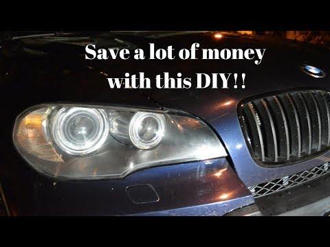 BMW X5 headlights cleaning