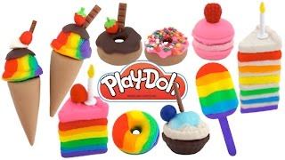 Play Doh Desserts, Ice Cream, Cakes, Donuts, Bakery How To DIY Super Video * RainbowLearning